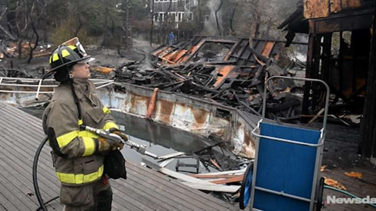 Four structures were destroyed and two were damanged