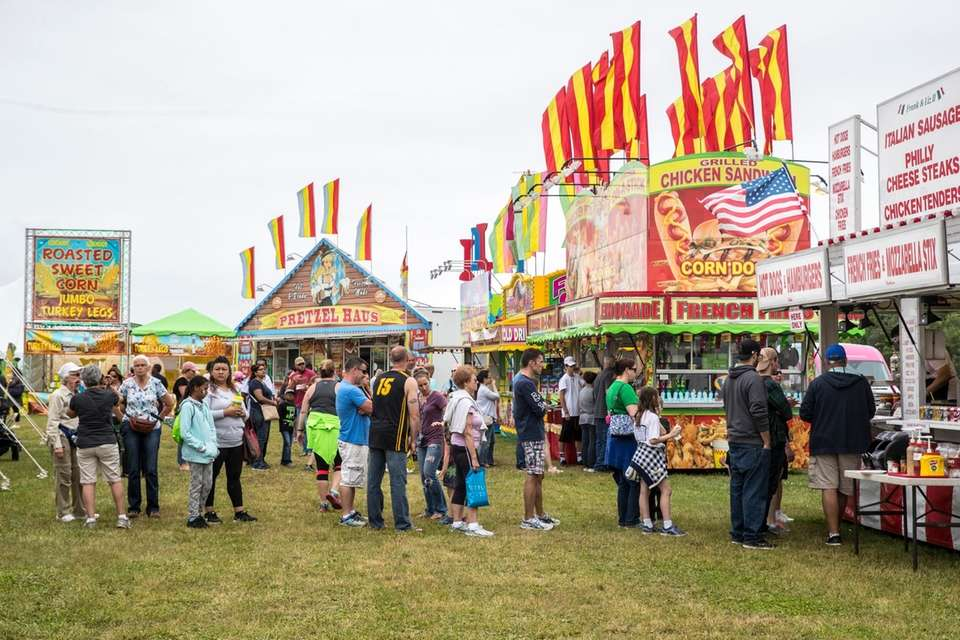 Crowds get food at the 63rd annual Mattituck