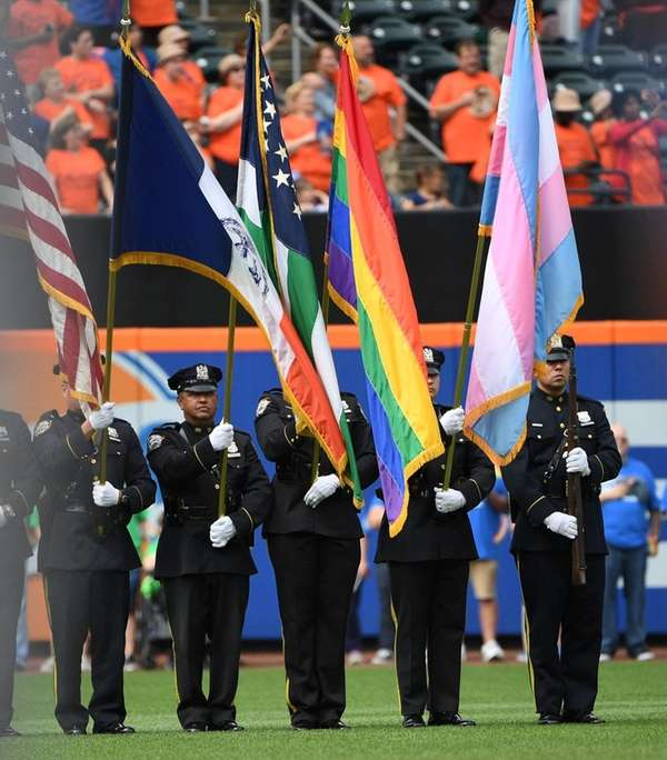 The Pride flag is displayed during the national