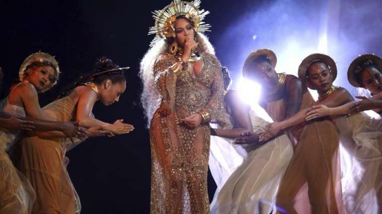 Beyoncé performs at the Grammy Awards in Los