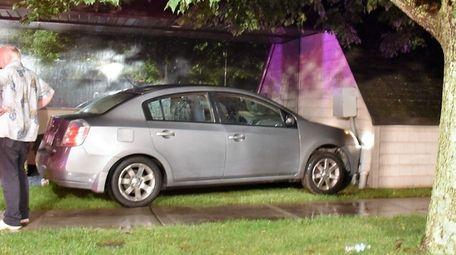 Scene where a car struck a medical building