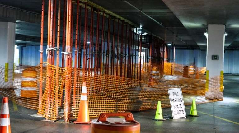 Construction equipment inside the lower level 2 at