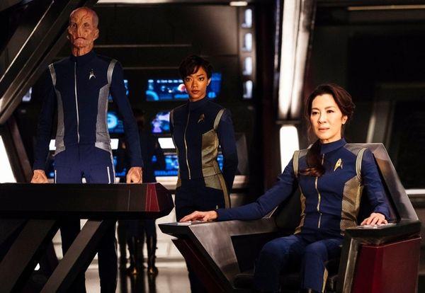 From left, Doug Jones as Lieutenant Saru, Sonequa