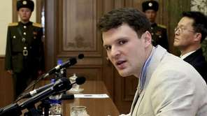 American student Otto Warmbier speaks as he is