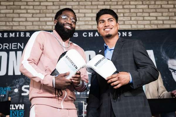 Adrien Broner, left, and Mikey Garcia at a