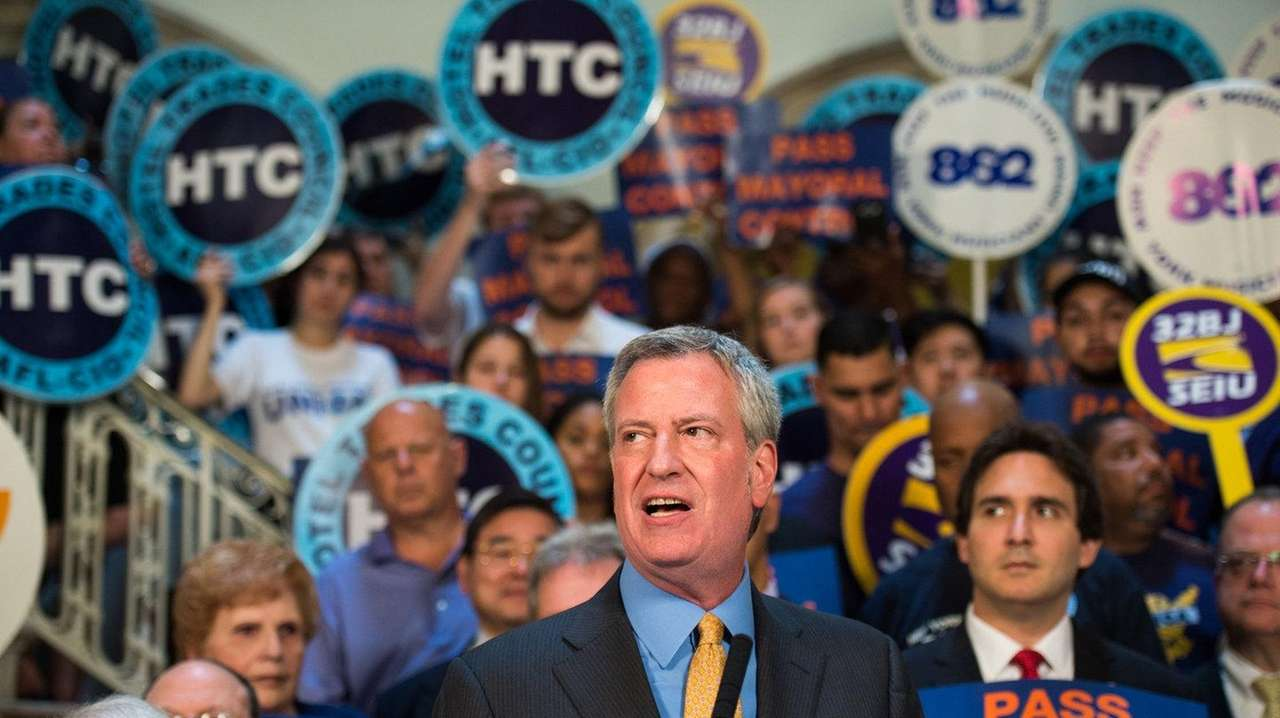 Mayor Bill de Blasio at a rally on