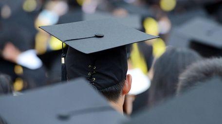 Graduation caps during commencement.