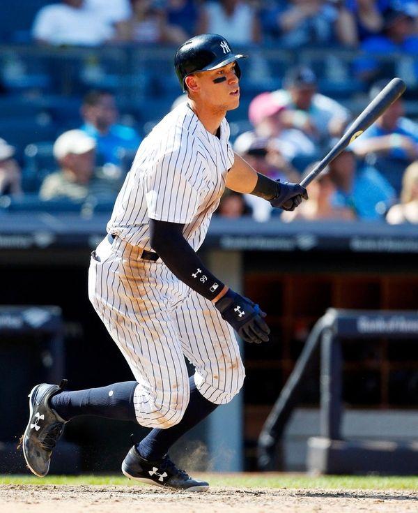 Aaron Judge, hitting a two-run homer at Yankee