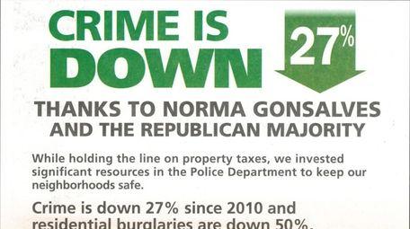 A county-paid mailer sent by Nassau Republican legislators