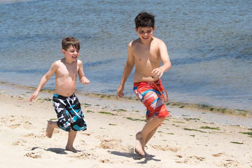 Elliott Sirico, 7, from Southold, left and his