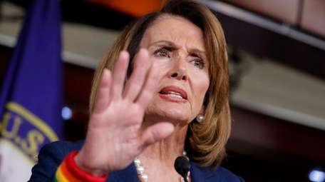 House Minority Leader Nancy Pelosi, D-Calif., speakson Capitol