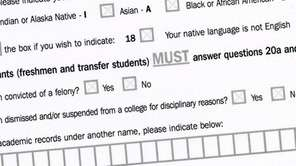 This box on SUNY's college application shows a