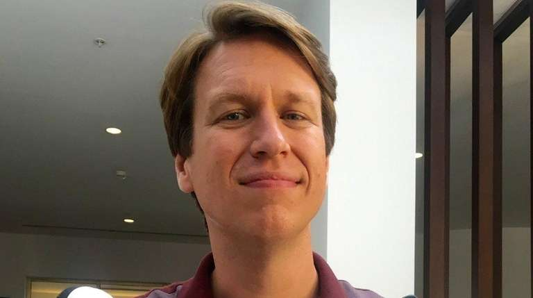 Comedian Pete Holmes during filming of HBO's