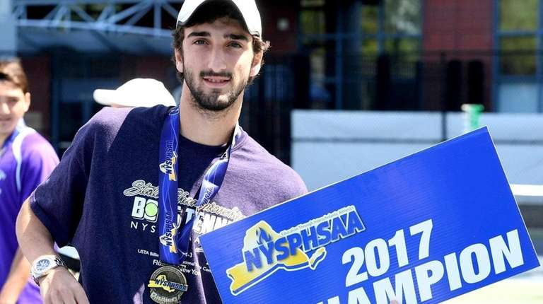 Yuval Solomon poses after the state tennis tournament