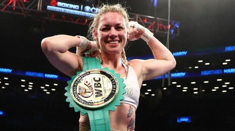 Heather Hardy celebrates her decision win against Edina