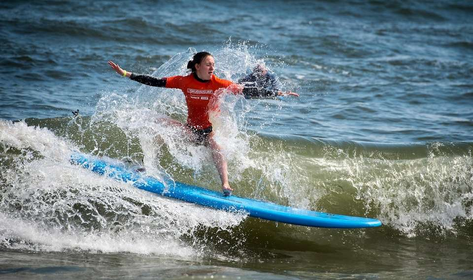 Melissa Skolkin of Long Beach surfs for the