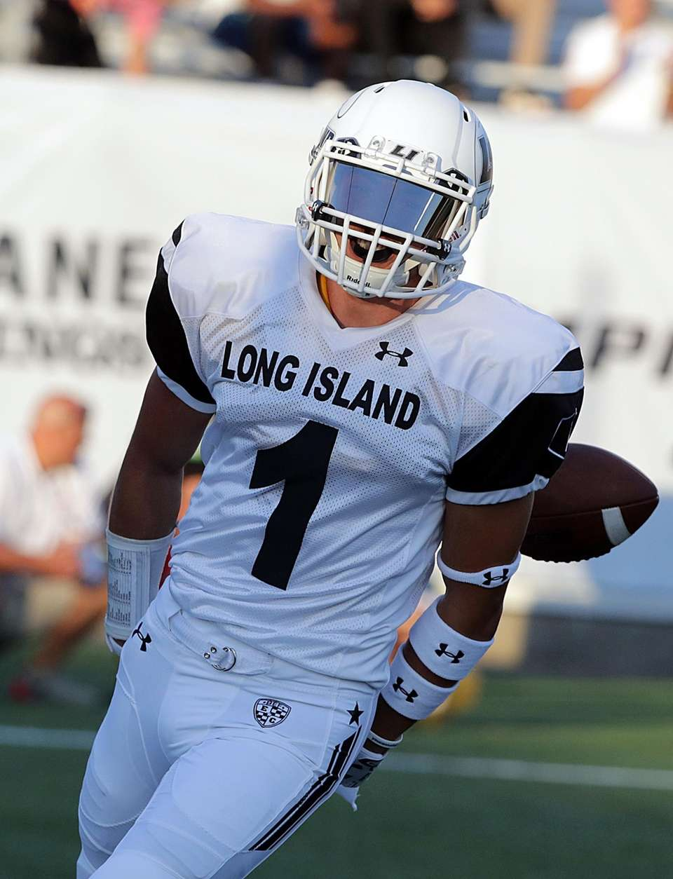 Long Island wide receiver John Corpac reacts after