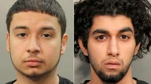 Jonnathan Santos, 20, left, of Manhasset, and Areefeen