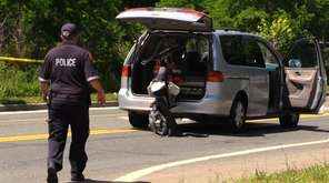 A minivan driver was arrested after a crash