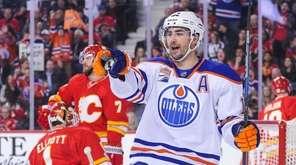 Jordan Eberle of the Edmonton Oilers celebrates