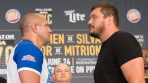 Fedor Emilianenko and Matt Mitrione have a staredown
