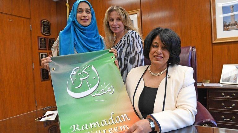 Hempstead Town Clerk Nasrin G. Ahmad, right, with