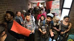 Stony Brook University students protested against proposed budget
