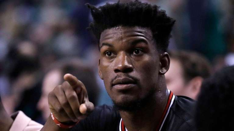 Bulls forward Jimmy Butler on the bench during