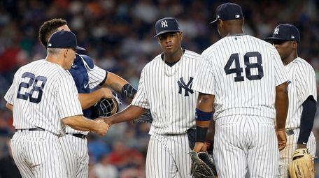 Luis Severino of the New York Yankees hands