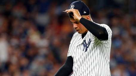 Dellin Betances of the Yankees walks to the