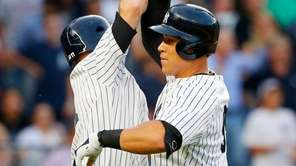 Yankees rightfielder Aaron Judge celebrates his three-run home