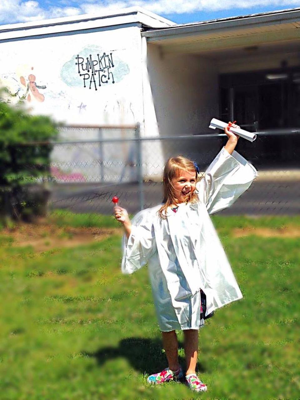 Abigail graduating from Pumpkin Patch Preschool in Commack