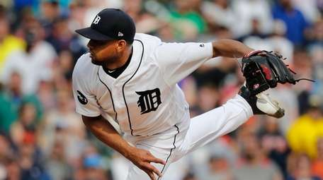 Relief pitcher Francisco Rodriguez throws against the Boston