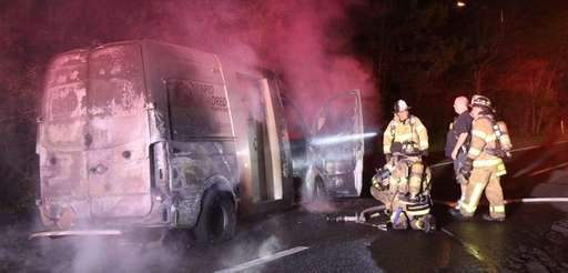 An armored truck was destroyed by fire on
