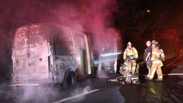 An armored truck caught fire on the service