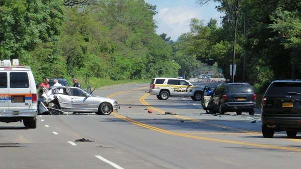 The scene of a crash on Glen Cove