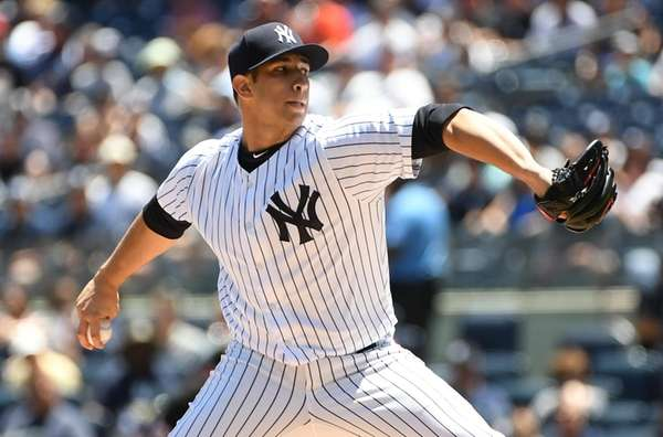 New York Yankees starting pitcher Luis Cessa delivers