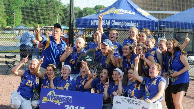 East Meadow players pose for a team photo