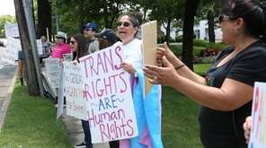 About 15 people rallied for transgender civil rights