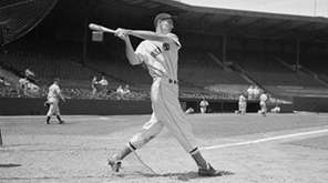 Red Sox legend Ted Williams is shown in