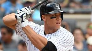 New York Yankees designated hitter Aaron Judge looks