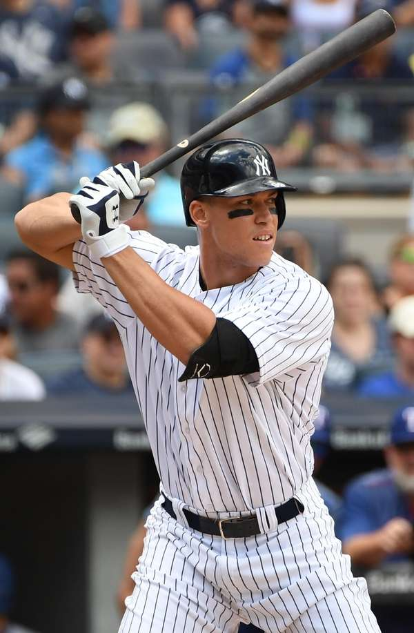 Yankees designated hitter Aaron Judge looks for his