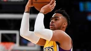Los Angeles Lakers guard D'Angelo Russell shoots during