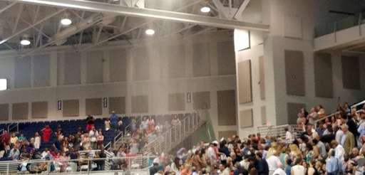 Sprinklers go off in the David S. Mack