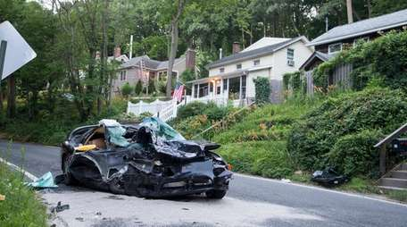 A crash on West Shore Road in Huntington