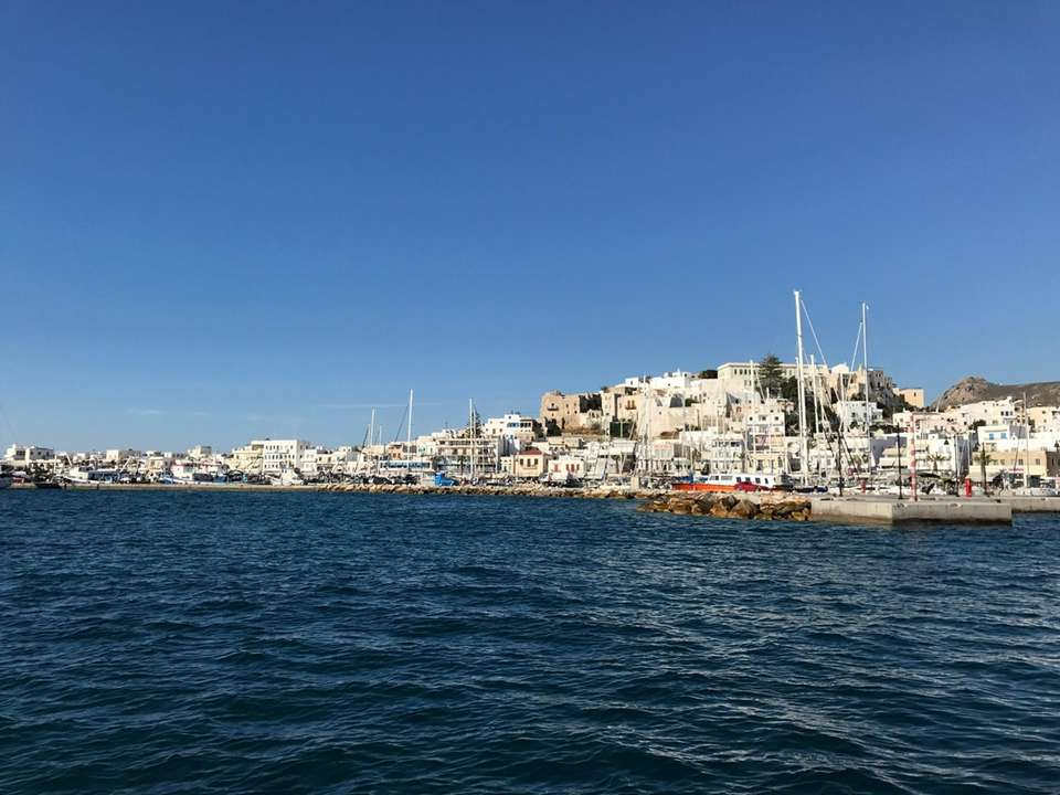 Naxos Town, view from sailboat