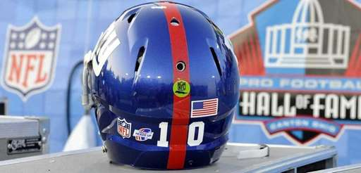 The helmet of New York Giants quarterback Eli