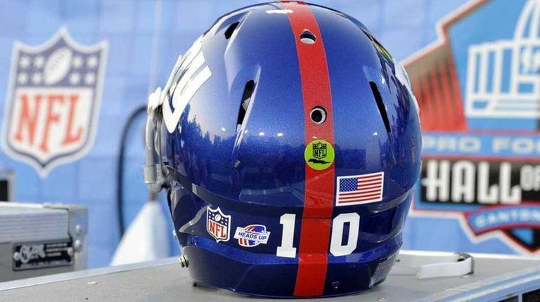 The helmet of New York Giants quarterback Eli