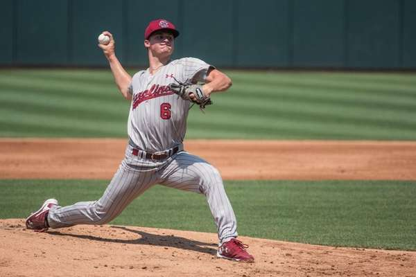 South Carolina pitcher Clarke Schmidt delivers during an