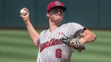 South Carolina pitcher Clarke Schmidt delivers during an